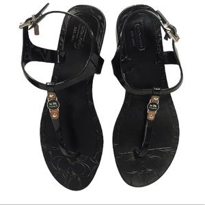 COACH Black Piccadilly Jelly Sandals w Silver